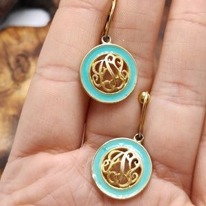 Vintage mono mint turquoise screwback gold round